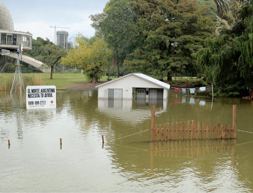 Red Cross Flooded House in Buenos Aires Argentina