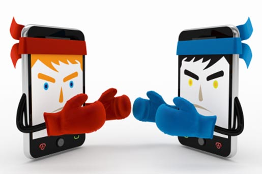 Mobile Phones Fight - Red and Blue