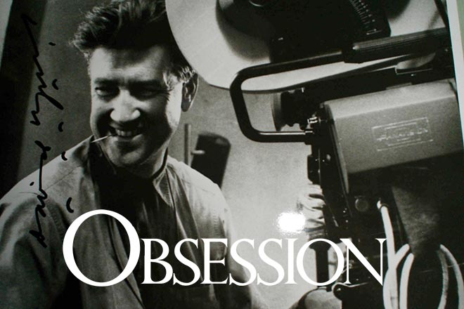 David Lynch superimposed on Obsession Graphic