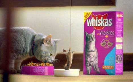 Mouse bungee in Whiskas Catfood TV Ad