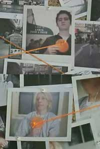 Orange ribbons connect photographs in Truth TV Ad