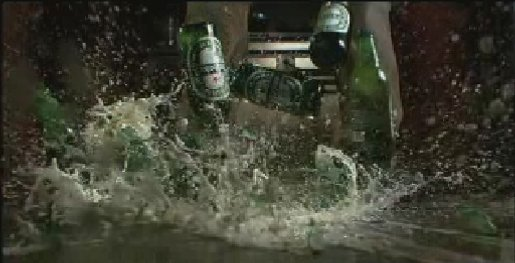 Heineken Bottles Smash in Disturbance TV Ad