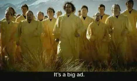 Carlton Draught Big Ad features many men in yellow kaftans