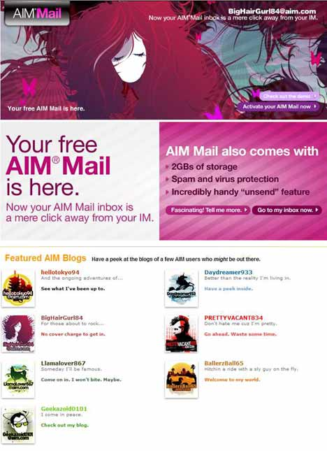 Screenshot from AIM Mail page