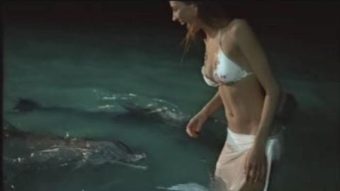 Bikini clad woman plays with dolphins in Brisbane Sleepy Town TV Ad