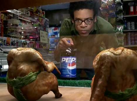Sumo chickens wrestle in Pepsi TV Ad