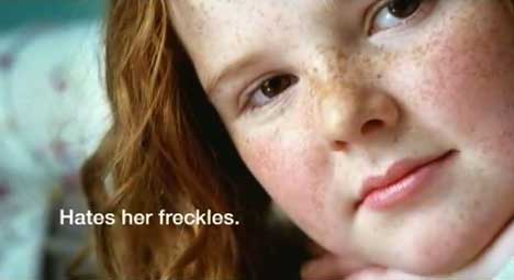 Girl with freckles in Dove Real Beauty Ad