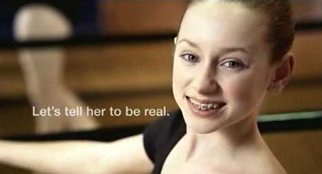 Girl with braces in Dove Real Beauty Ad