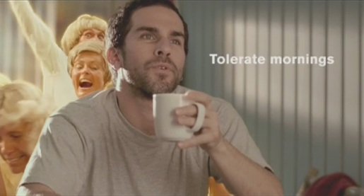 Man tolerates mornings in Folgers TV ad