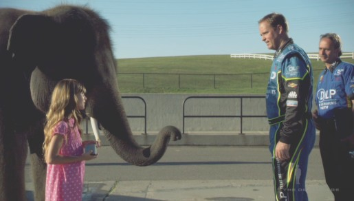 Girl and elephant with NASCAR drivers