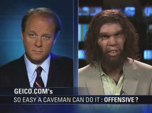 Caveman appears on television