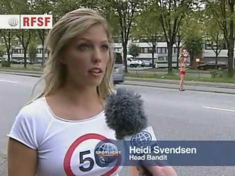 Heidi Svendsen, Head Bikini Bandit, speaks to the camera