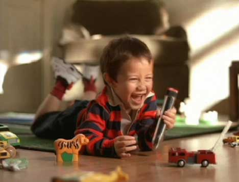 IKEA Vibrator in the hands of a boy playing with little cars