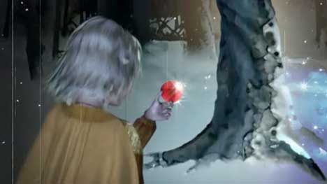 Girl finds a Christmas bauble in Dekko Christmas Tale TV advert