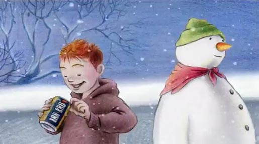 Boy and Snowman in IRN BRU TV advert