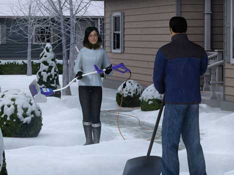 Neighbors compare snow throwers in Snow Joe TV ad