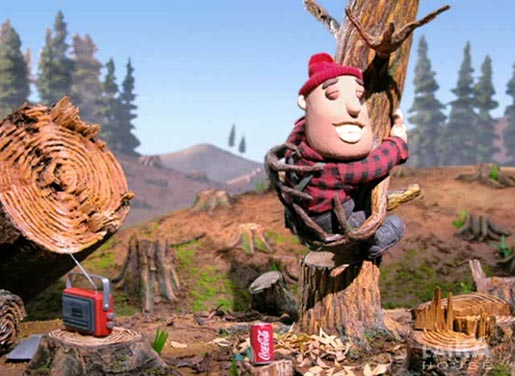 Logger hugs tree in Coca Cola Futbol commercial