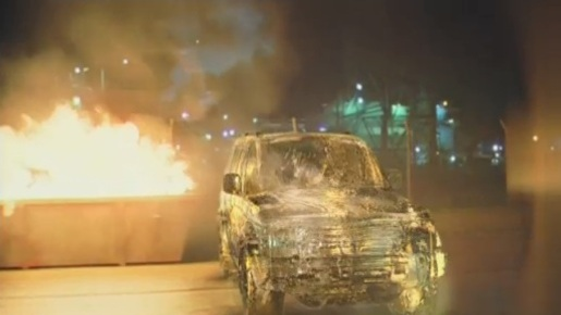 Toyota Prado TV Ad features ice vehicle lit by a burning fire