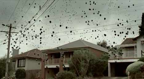 Black balloons fill the sky above Victoria