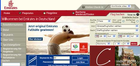 Emirates Germany Web Site