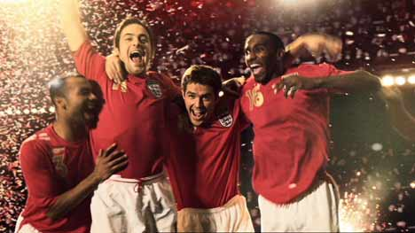 English players celebrate win