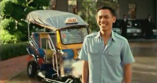 Tuk tuk and driver in Visa ad