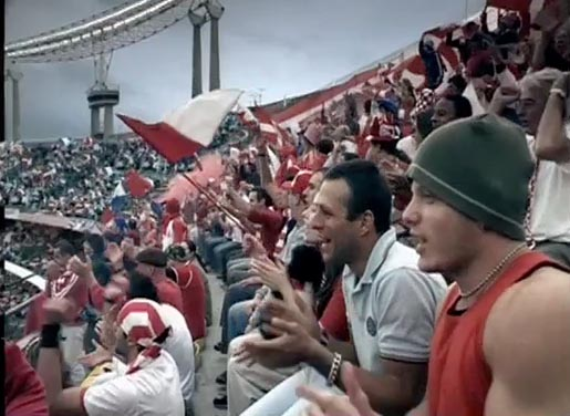 Crowd in Vodafone Soccer TV Ad