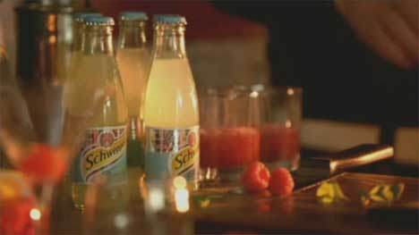 Ingredients for Schweppes cocktails in TV advert