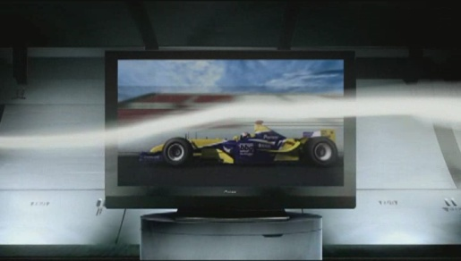 Smoke streams around a Formula 1 car in Pioneer Plasma TV