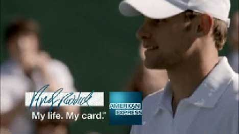 Roddick plays tennis for American Express