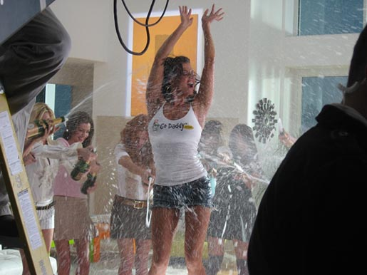 GoDaddy.com Candice Michelle in champagne shower