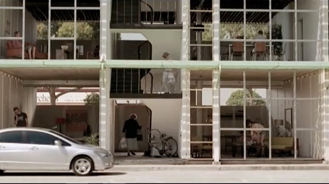 Unfinished building in Honda Civic TV ad