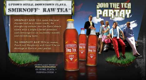 Screenshot from Smirnoff Raw Tea Partay web site