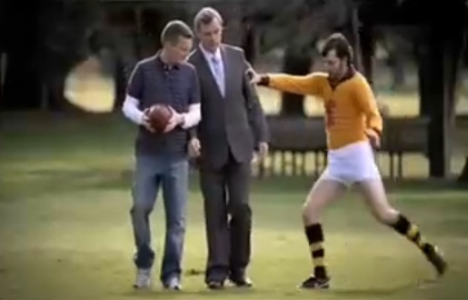 Francis Bourke is kicked in Toyota AFL Legendary Moment
