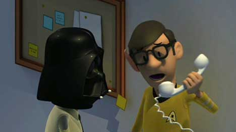 Darth Vader and Spock receive a phone call in IT