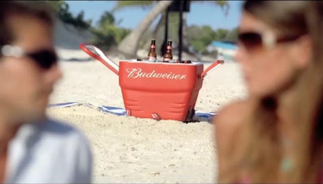 Budweiser cooler in King Crab TV ad