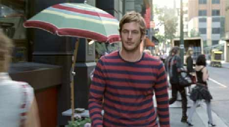 Man wears striped shirt in Honda CRV TV ad
