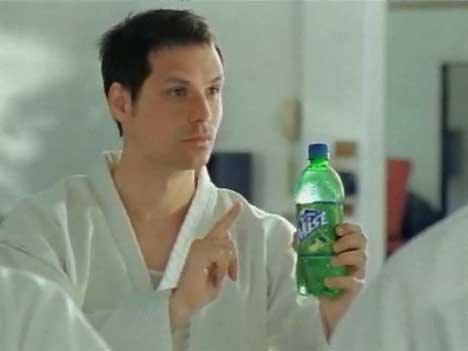 Michael Ian Black points to the Sierra Mist bottle in Karate TV ad