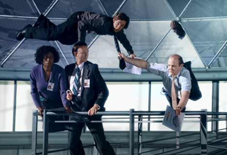 Office tourists float in low gravity for Fedex TV ad