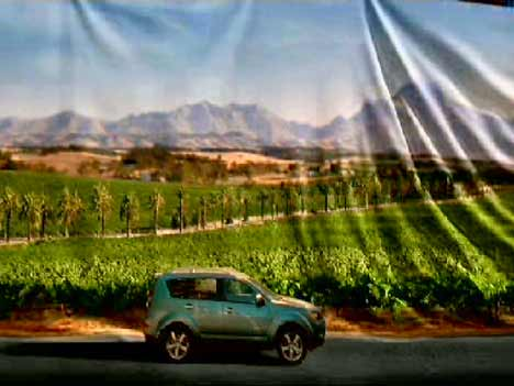 Mitsubishi Outlander in front of a vineyard turned into a canvas