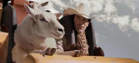 Cowboy and sheep in Brokeback Mountain Theme Park