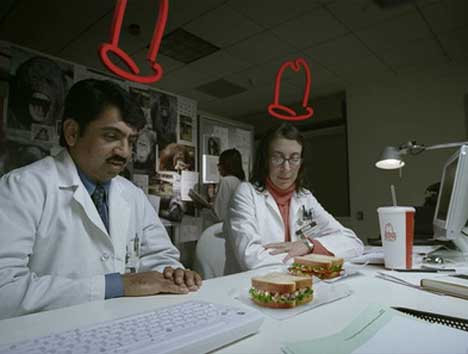 Scientists stare at sandwiches in Arbys TV Ad
