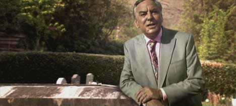 Bob Monkhouse speaks by grave