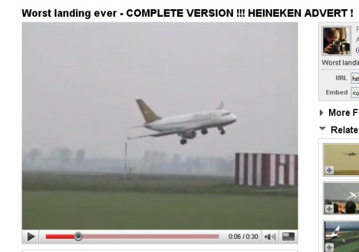 YouTube footage of Heineken Plane Landing video