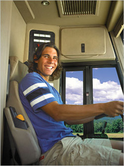 Raphael Nadal as bus driver on US Open Series Road Trip