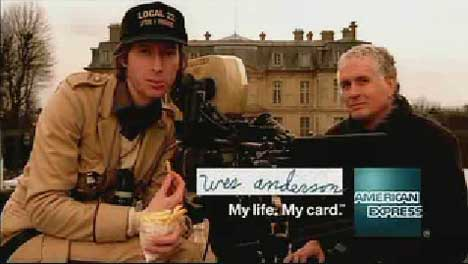 Wes Anderson and Bob Yeoman in American Express TV ad