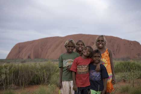 Aborigines at Uluru for The Australian TV ad