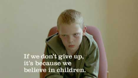 Boy in interview for Barnardos TV ad