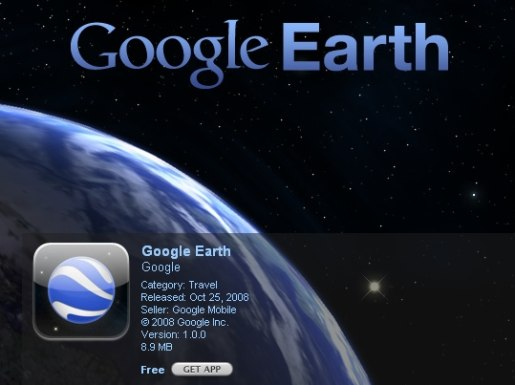 Google Earth app on iStore