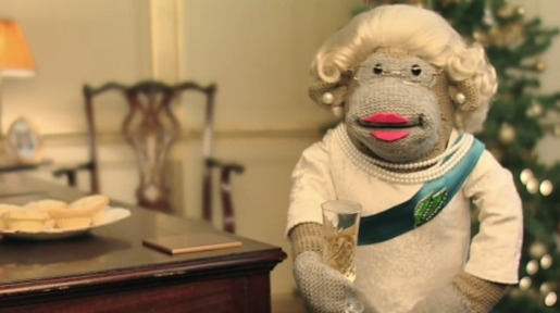 PG Tips Monkey raises toast in Queen's Message